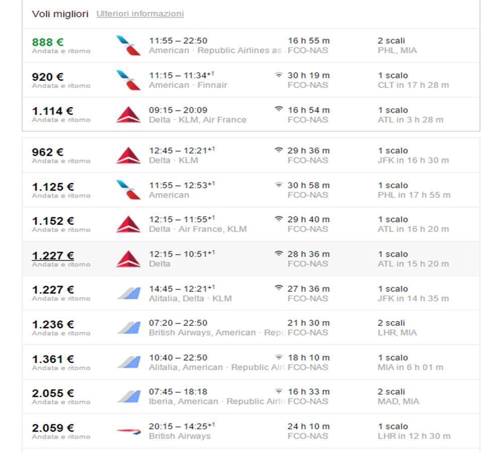 Costo Volo aereo Bahamas