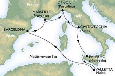 Itinerario crociera Mar Mediterraneo Occidentale