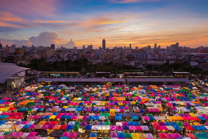 Bangkok Flea market aerial view with beauty of sunset