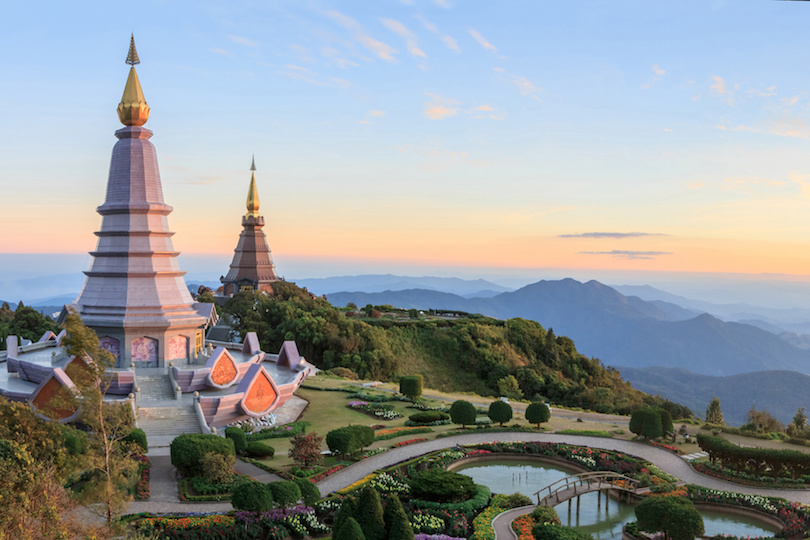 Beautiful sunset at two pagoda (noppha methanidon-noppha phon phum siri stupa), Doi Inthanon National Park, Chiang mai, Thailand.