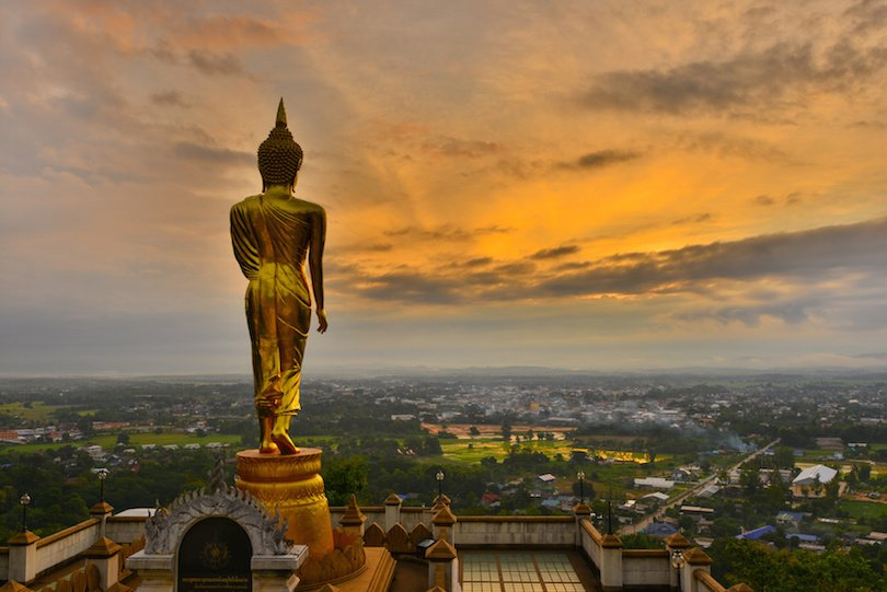 View Point Wat Phra That Kao Noi of Nan Province in Thailand.