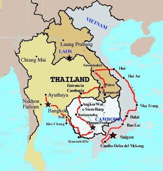 cartina Tailandiaa e Laos