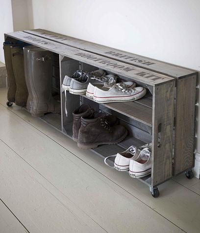 scarpiera cassetta di legno